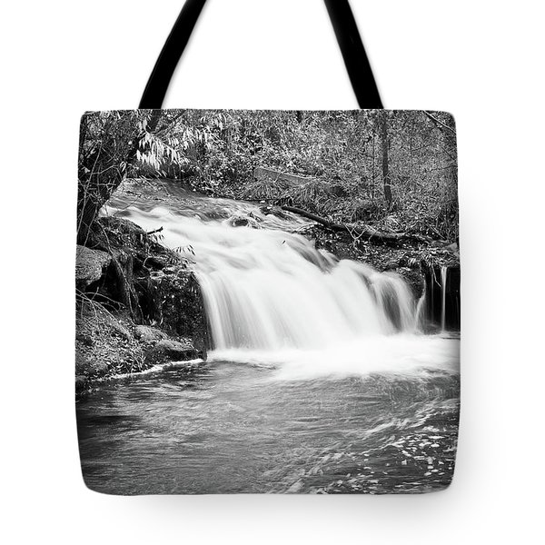 Creek Merge Waterfall in Black and White Tote Bag by James BO  Insogna