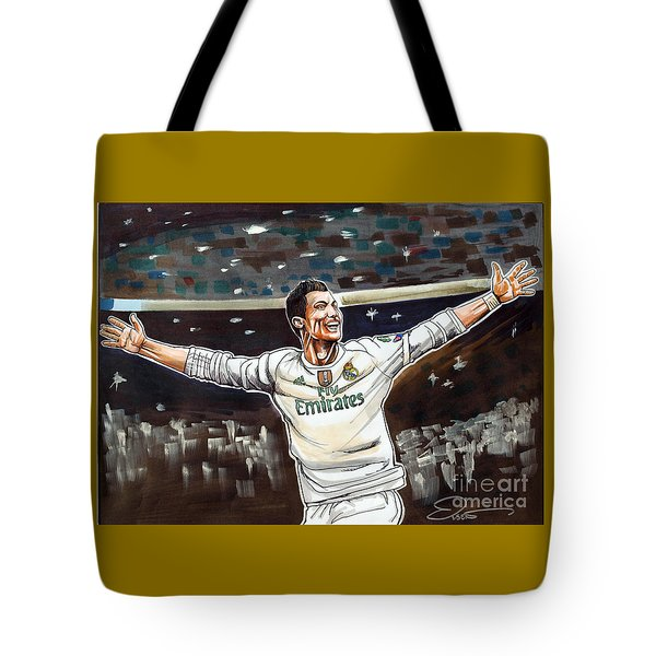 Cristiano Ronaldo Of Real Madrid Tote Bag by Dave Olsen