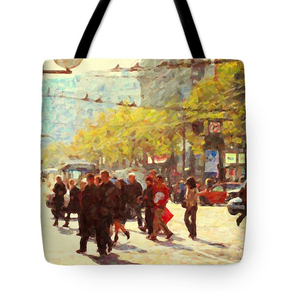 Crossing San Francisco Market Street Tote Bag by Wingsdomain Art and Photography