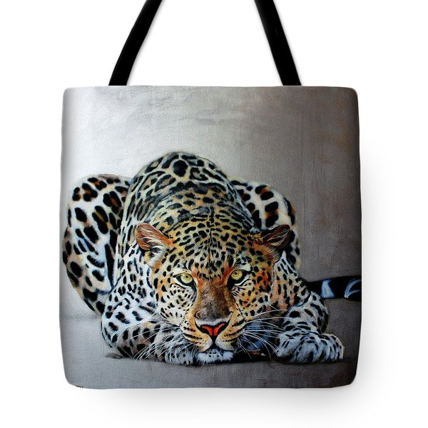 Crouching Leopard Tote Bag by Susana Falconi
