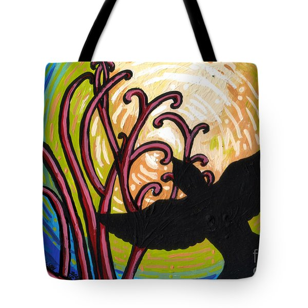 Crow And Full Moon In Winter Tote Bag by Genevieve Esson