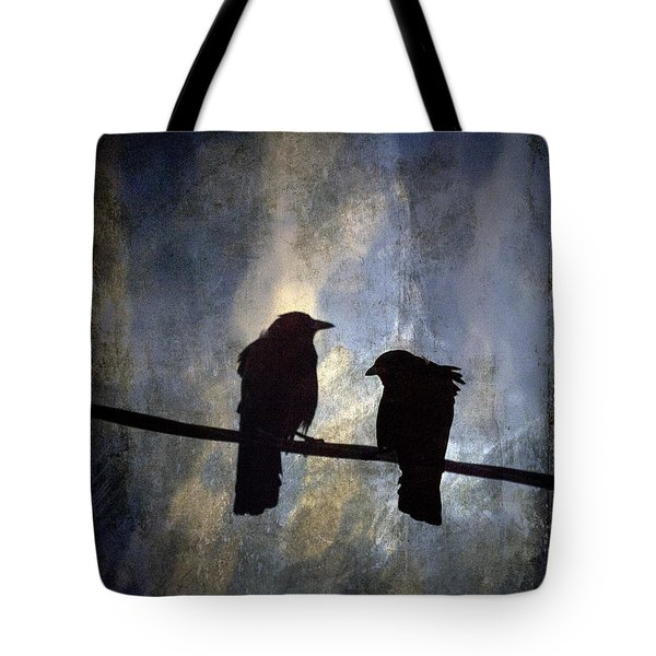 Crows And Sky Tote Bag by Carol Leigh