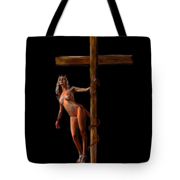 Crucified Tote Bag by Tbone Oliver