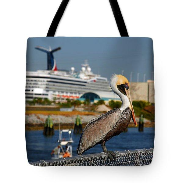 Cruising Pelican Tote Bag by Susanne Van Hulst