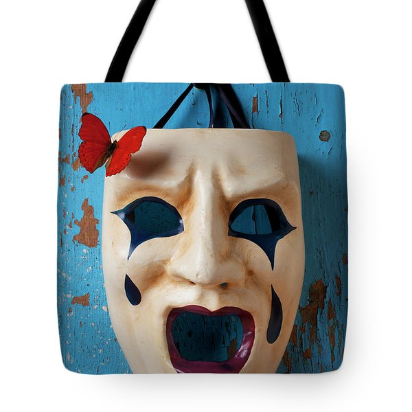 Crying Mask And Red Butterfly Tote Bag by Garry Gay
