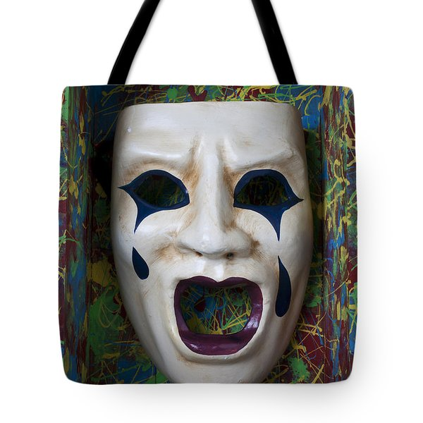 Crying Mask In Box Tote Bag by Garry Gay