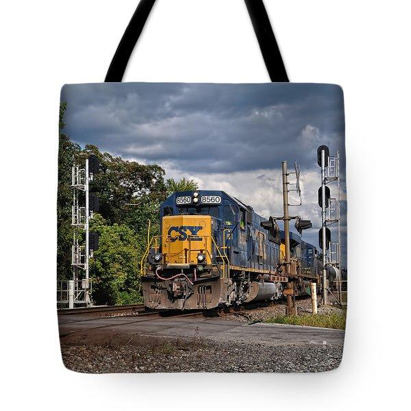 Csx Train Headed West Tote Bag by Pamela Baker