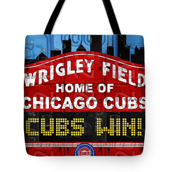Cubs Win Wrigley Field Chicago Illinois Recycled Vintage License Plate Baseball Team Art Tote Bag by Design Turnpike