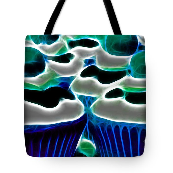 Cupcakes - Electric - Blue Tote Bag by Wingsdomain Art and Photography