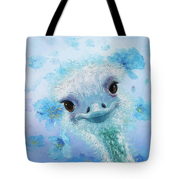 Curious Ostrich Tote Bag by Jan Matson