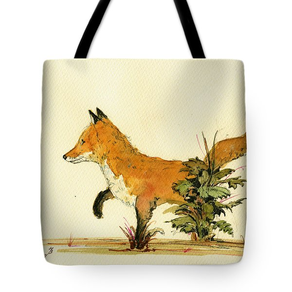 Cute Fox In The Forest Tote Bag by Juan  Bosco