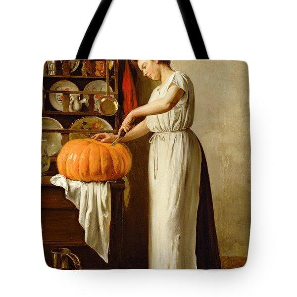 Cutting The Pumpkin Tote Bag by Franck-Antoine Bail