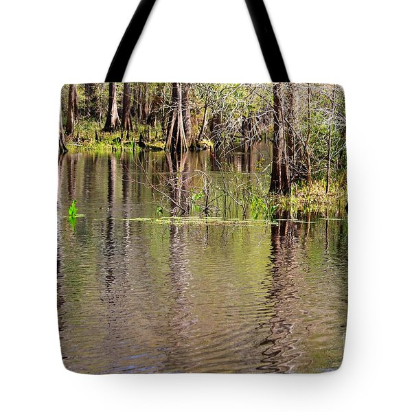Cypresses Reflection Tote Bag by Carol Groenen
