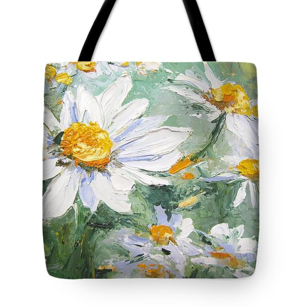 Daisy Delight Palette Knife Painting Tote Bag by Chris Hobel