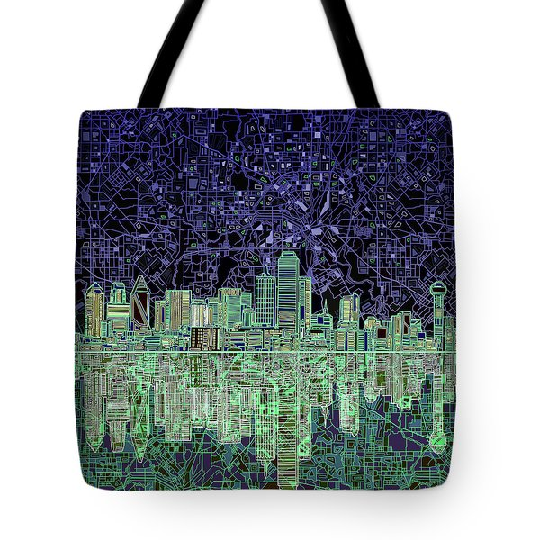Dallas Skyline Abstract 4 Tote Bag by Bekim Art