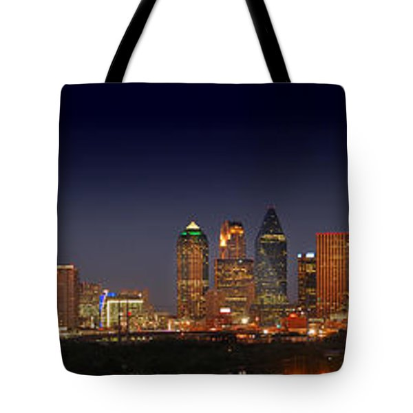 Dallas Skyline At Dusk Big Moon Night  Tote Bag by Jon Holiday