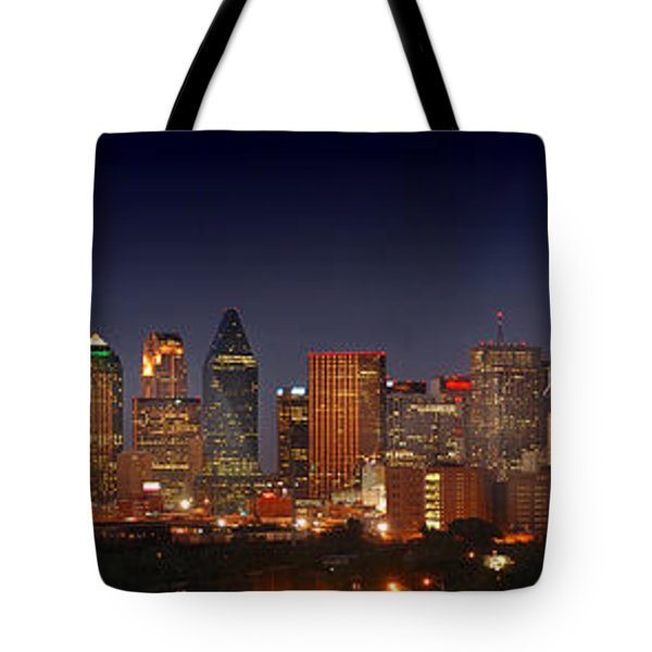 Dallas Skyline At Dusk  Tote Bag by Jon Holiday