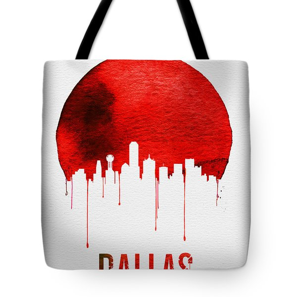 Dallas Skyline Red Tote Bag by Naxart Studio