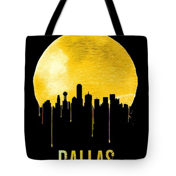 Dallas Skyline Yellow Tote Bag by Naxart Studio