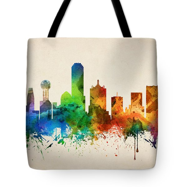 Dallas Texas Skyline 05 Tote Bag by Aged Pixel
