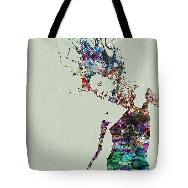 Dancer Watercolor Splash Tote Bag by Naxart Studio