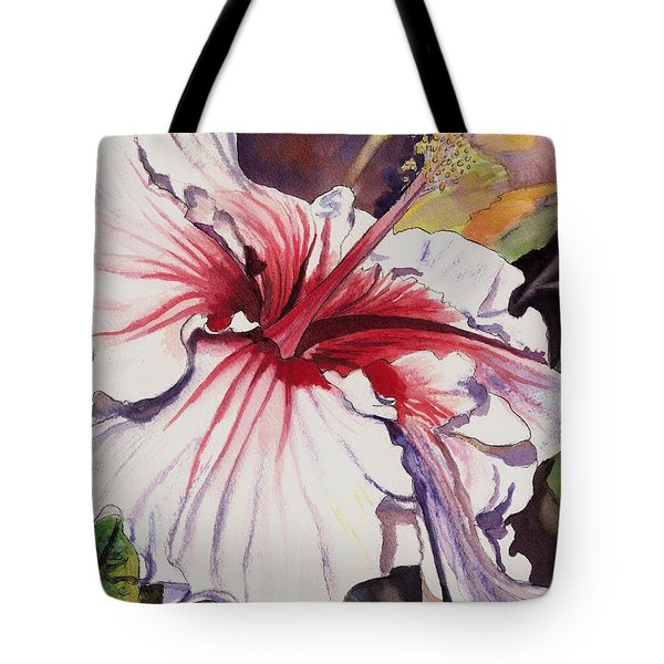 Dancing Hibiscus Tote Bag by Marionette Taboniar