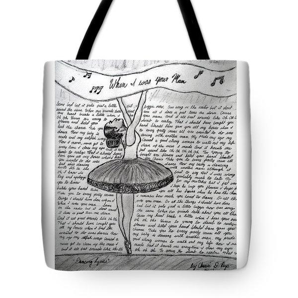 Dancing Lyrics Tote Bag by Chenee Reyes