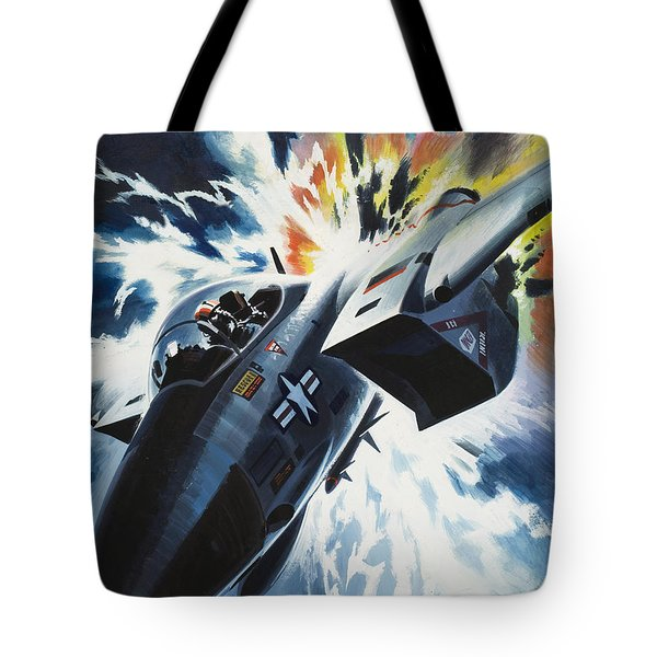 Danger From The Skies Tote Bag by Wilf Hardy