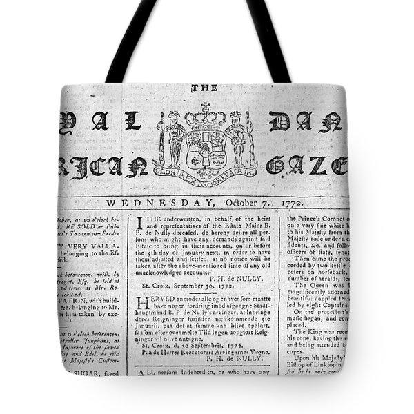 Danish West Indies 1772 Tote Bag by Granger