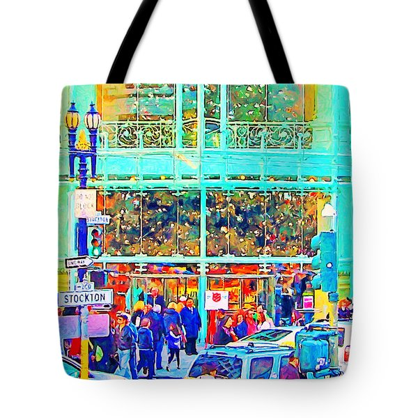 Day Before Christmas at Neiman Marcus . Photoart Tote Bag by Wingsdomain Art and Photography