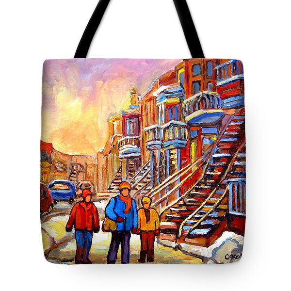 Debullion Street Winter Walk Tote Bag by Carole Spandau