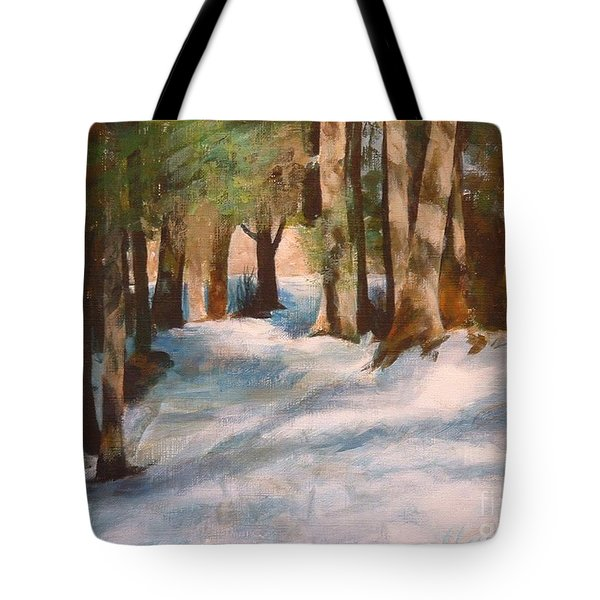 December Snow Path Tote Bag by Claire Gagnon