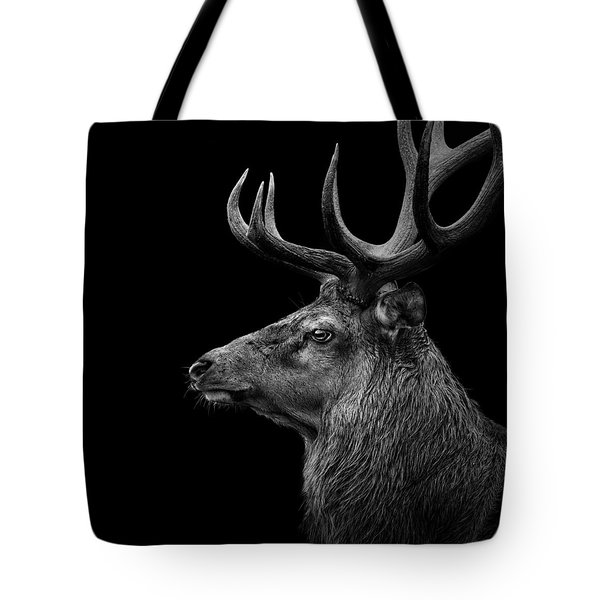 Deer In Black And White Tote Bag by Lukas Holas