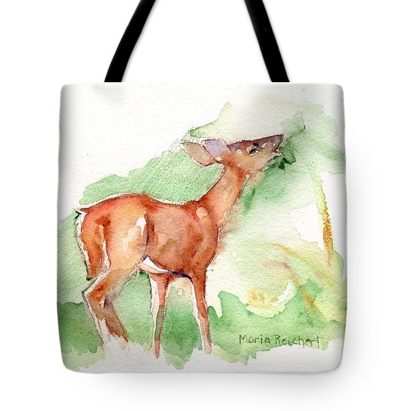 Deer Painting In Watercolor Tote Bag by Maria's Watercolor