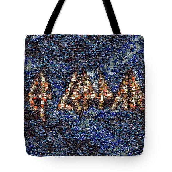 Def Leppard Albums Mosaic Tote Bag by Paul Van Scott