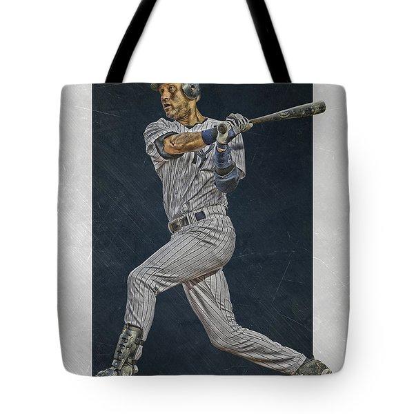 Derek Jeter New York Yankees Art 2 Tote Bag by Joe Hamilton