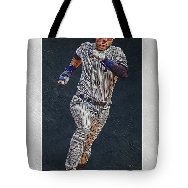 Derek Jeter New York Yankees Art 3 Tote Bag by Joe Hamilton