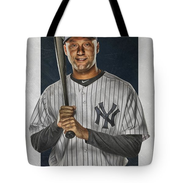 Derek Jeter New York Yankees Art Tote Bag by Joe Hamilton