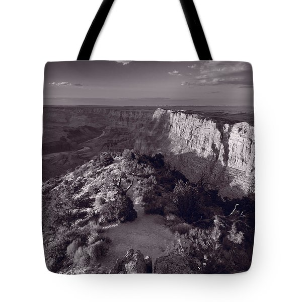 Desert View At Grand Canyon Arizona Bw Tote Bag by Steve Gadomski