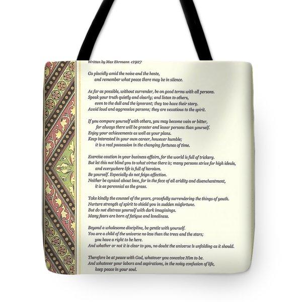 Desiderata 1 Tote Bag by Desiderata Gallery