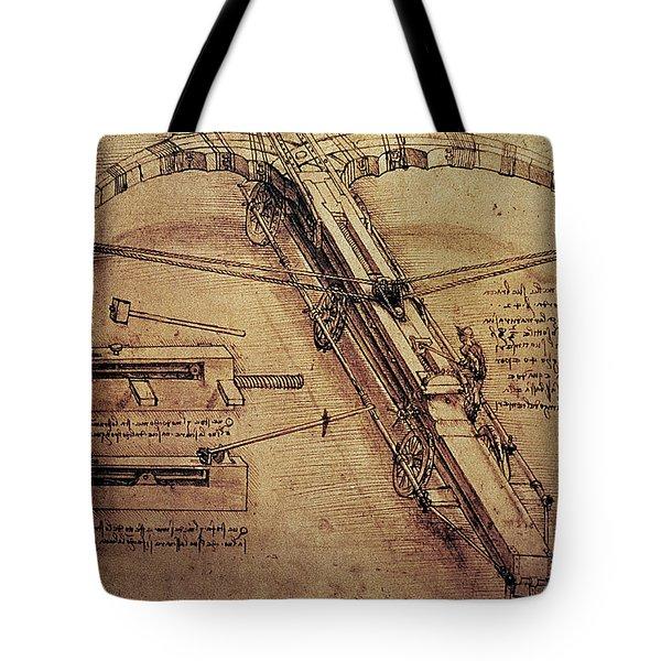 Design For A Giant Crossbow Tote Bag by Leonardo Da Vinci