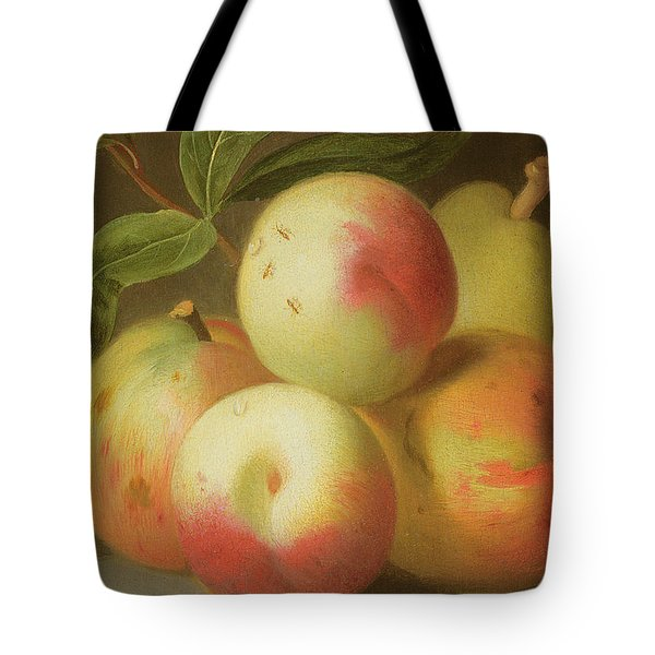 Detail Of Apples On A Shelf Tote Bag by Jakob Bogdany