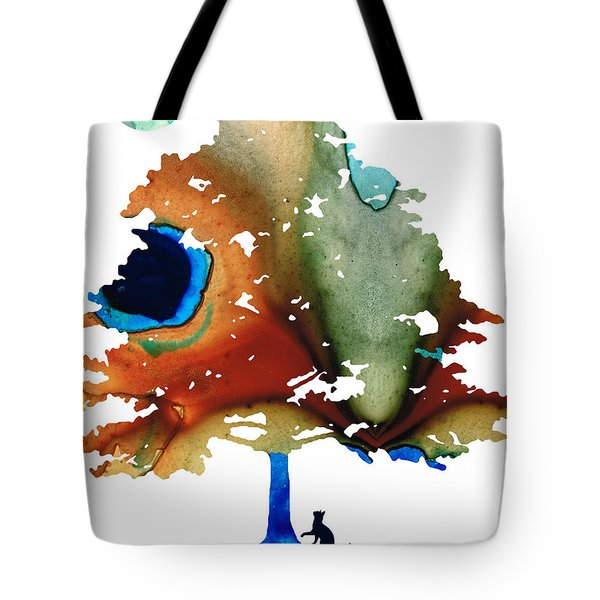 Determination - Colorful Cat Art Painting Tote Bag by Sharon Cummings