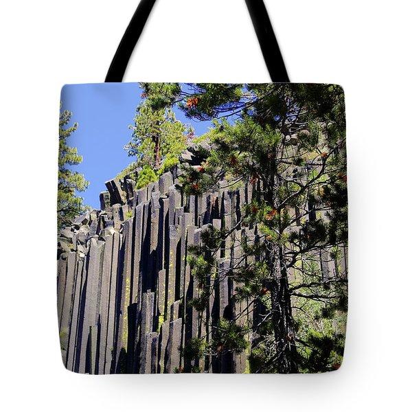 Devils Postpile - America's Volcanic Past Tote Bag by Christine Till