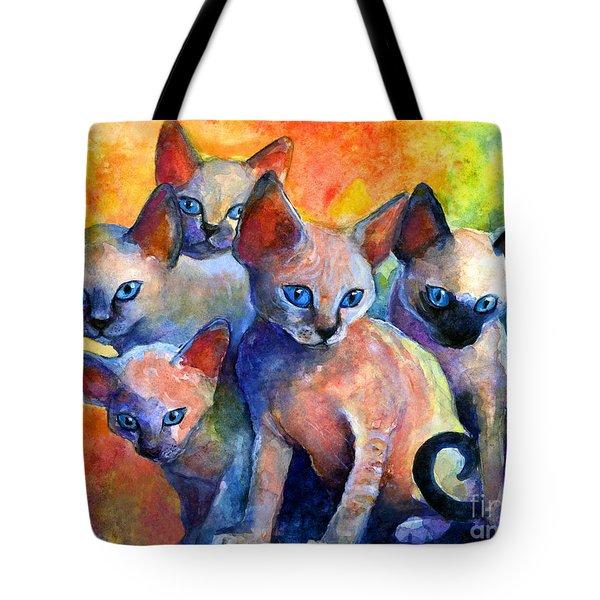 Devon Rex Kittens Tote Bag by Svetlana Novikova