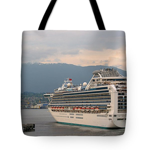 Diamond Princess Leaving Vancouver British Columbia Canada Tote Bag by Christine Till
