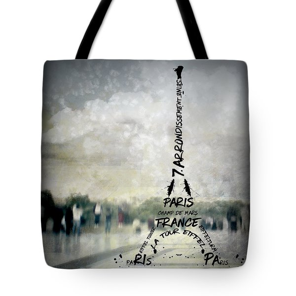 Digital-art Paris Eiffel Tower No.2 Tote Bag by Melanie Viola