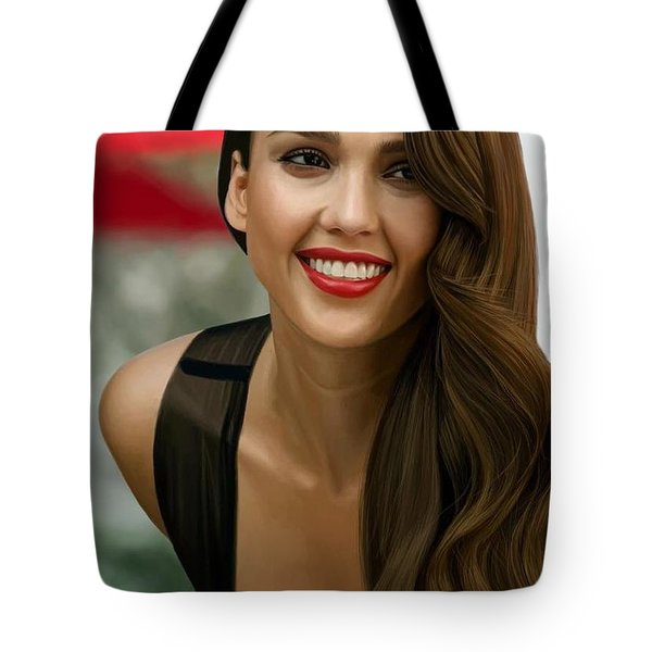 Digital Painting Of Jessica Alba Tote Bag by Frohlich Regian