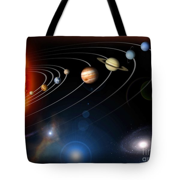 Digitally Generated Image Of Our Solar Tote Bag by Stocktrek Images