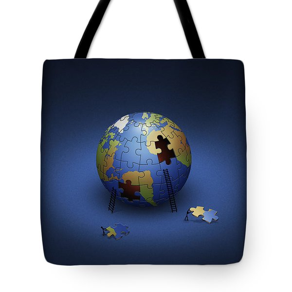 Digitally Generated Image Of The Earth Tote Bag by Vlad Gerasimov